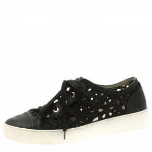 Chanel Black Flower Cutout Leather Sneakers Size 38.5
