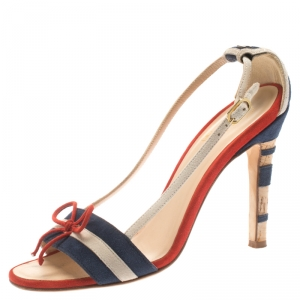 Chanel Tricolor Striped Suede Bow Detail CC Cork Heel Open Toe Sandals Size 36.5 - used