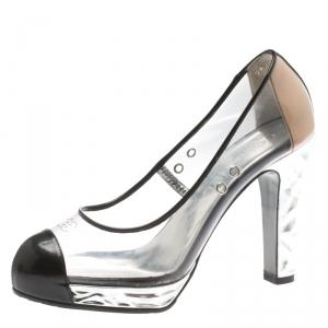 Chanel PVC And Black Patent Leather CC Cap Toe Platform Pumps Size 36.5