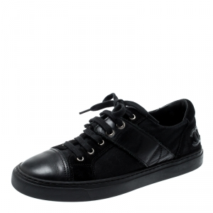 Chanel Black Canvas And Leather Cap Toe Lace Up Sneakers Size 35.5