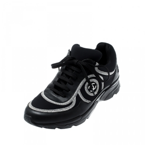 Chanel Black Leather And Fabric Neoprone CC Low Top Sneakers Size 38.5