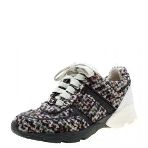 Chanel Grey/White Tweed and Leather Lace Up Sneakers Size 36