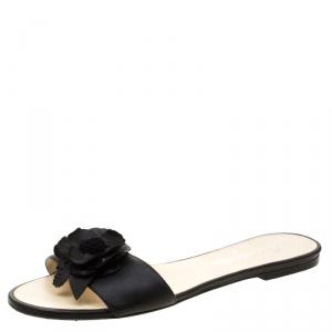 Chanel Black Camellia Embellished Leather Slide Size 39