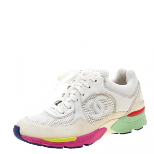 Chanel White Mesh And Leather CC Multicolor Sole Lace Up Sneakers Size 35.5