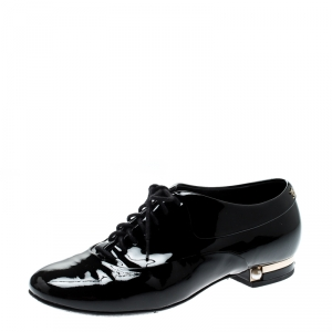 Chanel Black Patent Leather Pearl Embellished Lace Up Oxford Size 37.5