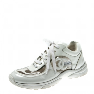 Chanel White Leather and PVC CC Sneakers Size 39