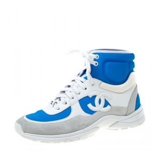 Chanel Blue Stretch Fabric And White Leather High Top Lace Up Sneakers Size 37