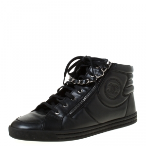 Chanel Black Leather CC Double Zip Accent High Top Sneakers Size 43