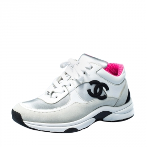 Chanel Multicolor Suede Leather CC Logo Lace Up Sneakers Size 35