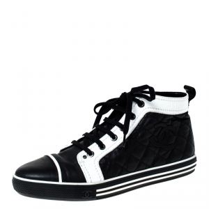 Chanel Monochrome Quilted Leather High Top Sneakers Size 38.5