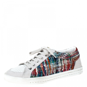 Chanel Multicolor Tweed Printed Fabric And Perforated Leather Sneakers Size 37.5