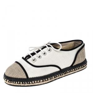 Chanel Beige/Black Canvas Lace Up Espadrilles Sneakers Size 36