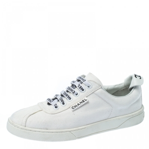 Chanel White Canvas Weekender Lace Up Sneakers Size 38