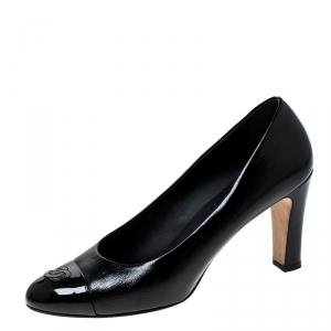 Chanel Black Leather CC Cap Toe Pumps Size 40.5