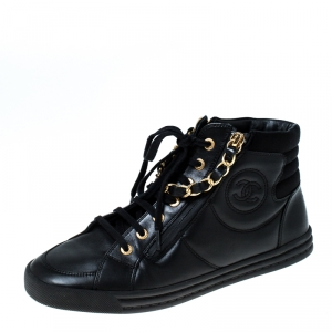 Chanel Black Leather CC Double Zip Accent High Top Sneakers Size 38