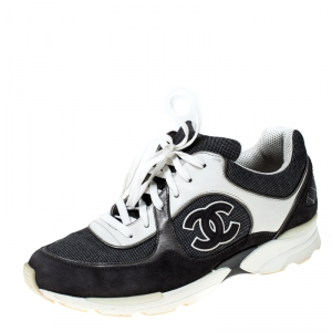 Chanel Black/Grey Suede/Leather and Mesh CC Logo Lace Up Sneakers Size 38.5
