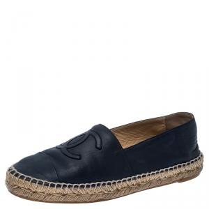 Chanel Navy Blue Leather CC Espadrilles Size 39