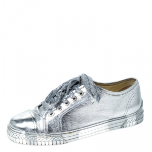 Chanel Metallic Silver Leather Lace Up Sneakers Size 40