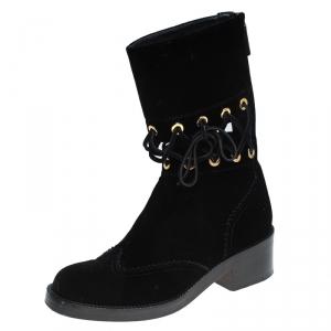 Chanel Black Velvet Mid Calf Boots Size 36.5