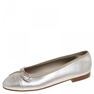 Chanel Silver Leather CC Cap Toe Ballet Flats Size 39.5