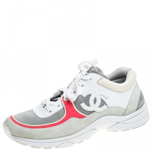 Chanel Multicolor Suede And Leather CC Logo Lace Up Sneakers Size 38