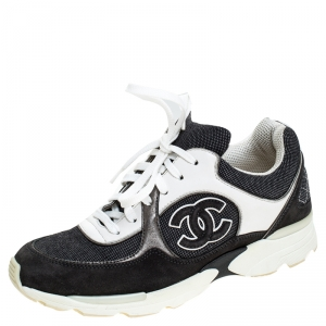 Chanel Blue Leather, Suede and Fabric CC Sneakers Size 36