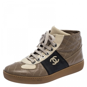 Chanel Tricolor Quilted Leather CC High Top Sneakers Size 37