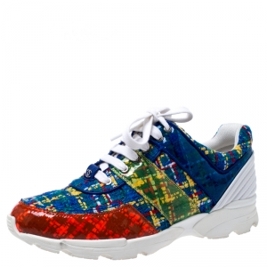 Chanel Multicolor Tweed Fabric And PVC Lace Up Sneakers Size 40