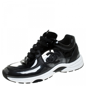 Chanel Black PVC And Patent Leather CC Lace Up Sneakers Size 41