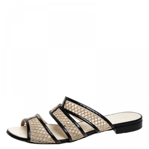 Chanel Beige Mesh And Black Leather Trim Slide Flats Size 39 - used