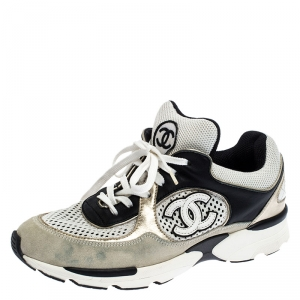 Chanel White/Black Leather and Mesh CC Logo Lace Up Sneakers Size 38
