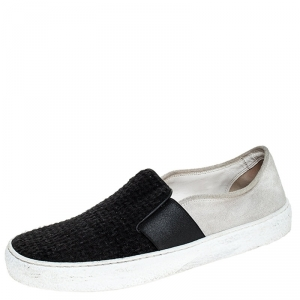 Chanel Black/White Tweed and Suede Slip On Sneakers Size 38.5
