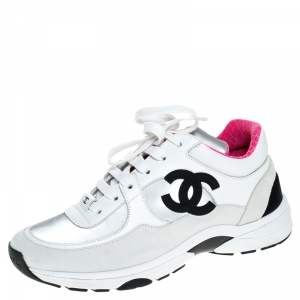 Chanel Multicolor Suede, Neoprene And Leather CC Logo Lace Up Sneakers Size 36.5
