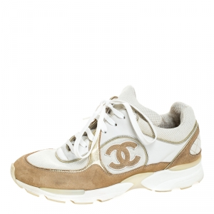 Chanel White/Beige Leather, Suede and Canvas CC Logo Lace Up Sneakers Size 37