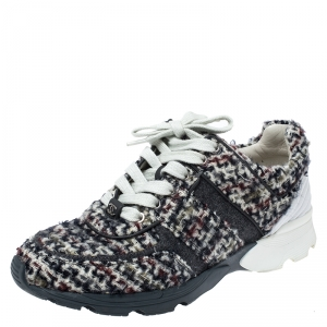Chanel Tweed Fabric And Leather Low Top Sneakers Size 38