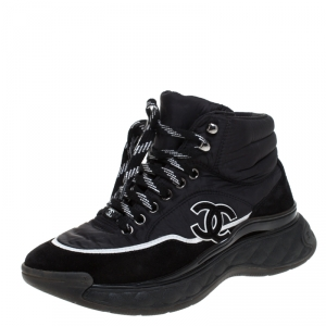 Chanel Black Fabric And Suede CC Lace Up Sneakers Size 36