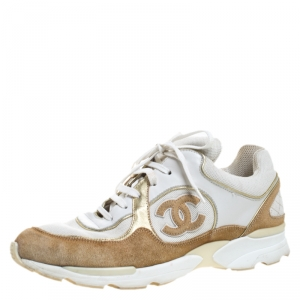 Chanel White/Beige Leather, Suede and Canvas CC Logo Lace Up Sneakers Size 40