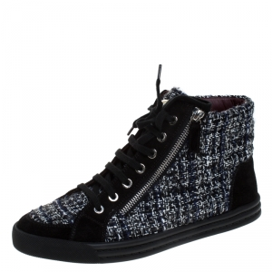 Chanel Black Tweed Fabric And Suede Leather Double Zipper High Top Sneakers Size 39