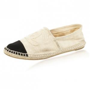 Chanel Black & White CC Canvas Espadrilles Size 38
