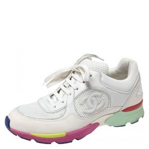 Chanel White Leather and Mesh CC Multicolor Sole Lace Up Sneakers Size 38