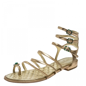 Chanel Gold Leather Embellished Toe Ring Gladiator Flat Sandals Size 39