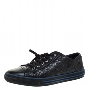 Chanel Black Quilted Nylon and Leather CC Low Top Sneaker Size 38