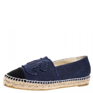 Chanel Blue Denim CC Espadrille Flats Size 37