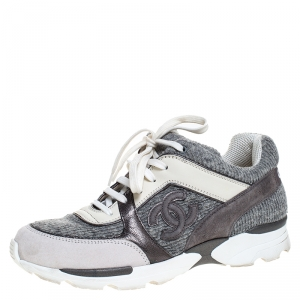 Chanel Grey Tweed Fabric And Suede Leather Low Top CC Sneakers Size 38