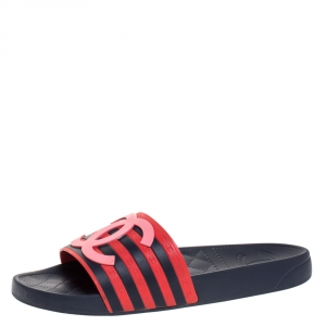 Chanel Blue/Red Rubber CC Flat Slides Size 39