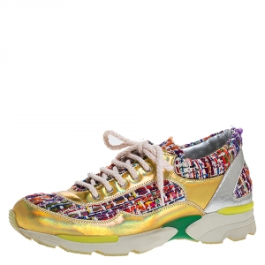 Chanel Multicolor Tweed Fabric And Holographic Leather CC Lace Up Sneakers Size 36.5
