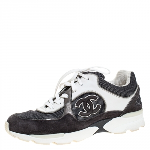 Chanel Monochrome Canvas And Suede CC Logo Lace Up Sneakers Size 38