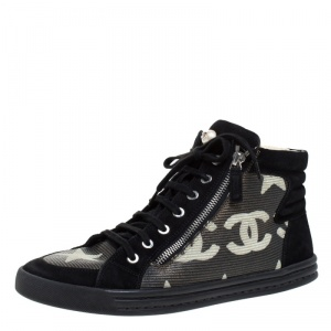 Chanel Black Suede and Leather CC Double Zip High Top Sneakers Size 40