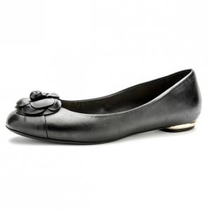 Chanel Black Leather Camelia Flower Ballet Flats Size 37.5