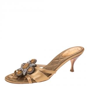 Chanel Gold Satin Crystal Embellished Slide Sandals Size 38 - used